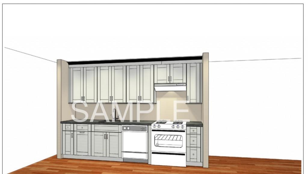 3d drawing Cliffside Park NJ Apartment Kitchen