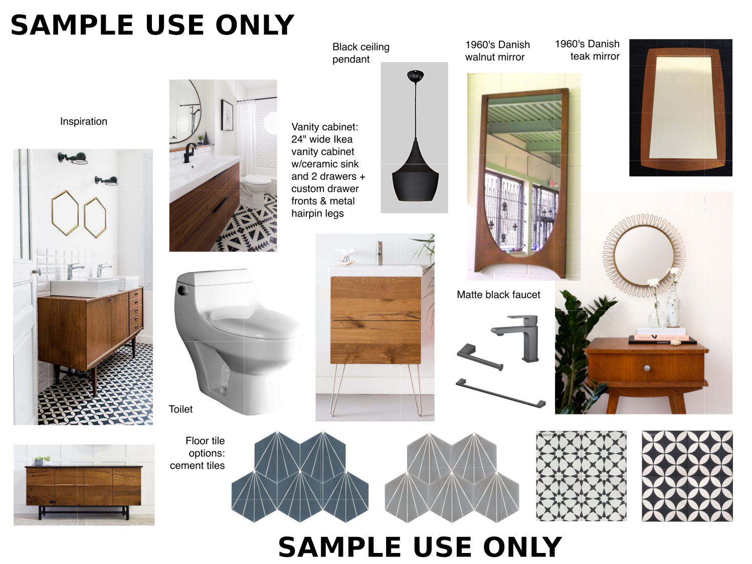 Powder Room Mood Board, Jersey City Heights Home Remodel