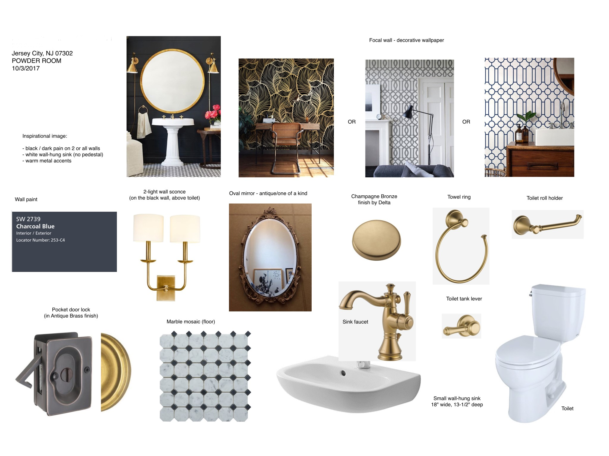 Historic District Brownstone Remodel Project In Process History Revitalized Powder Room Mood Board
